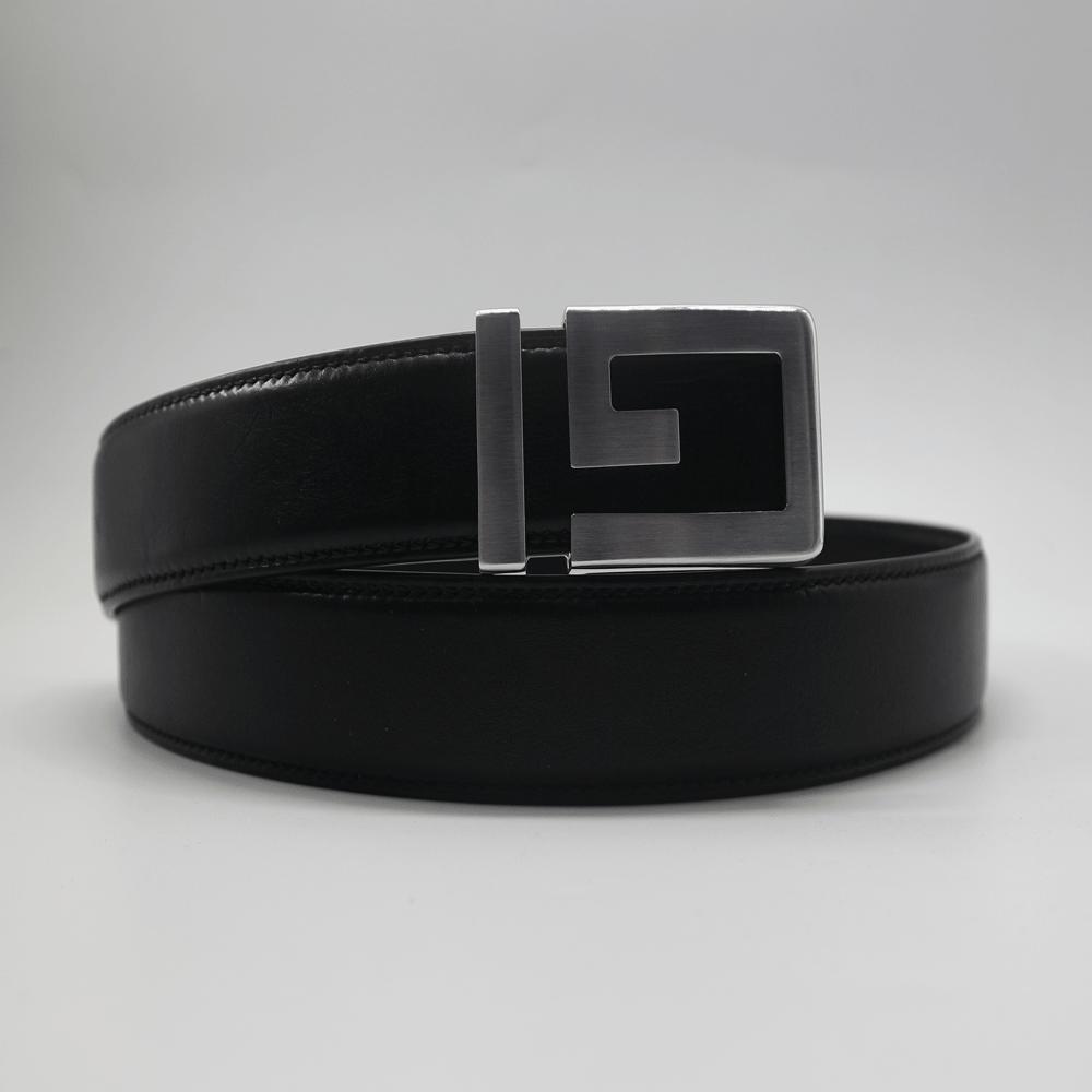 Thắt lưng nam da bò cao cấp vachetta đen - mặt chữ G màu bạc   (TL10004_Bac)