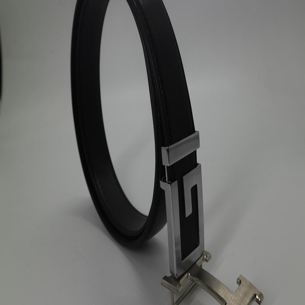 Thắt lưng nam da bò cao cấp vachetta đen - mặt chữ G màu bạc
