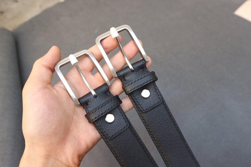 Dây lưng nam da bò epsom kết hợp khóa kim bạc