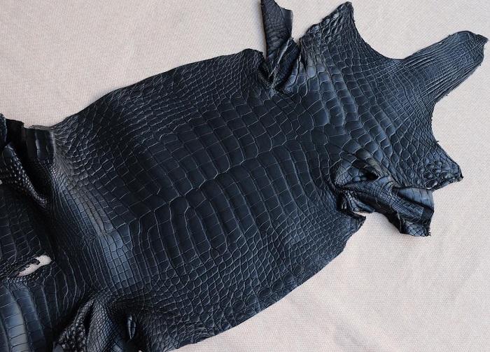 Dây đồng hồ da cá sấu Pháp màu đen cao cấp