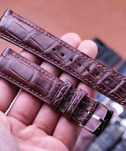 Dây đồng hồ da cá sấu Việt màu nâu nam tính