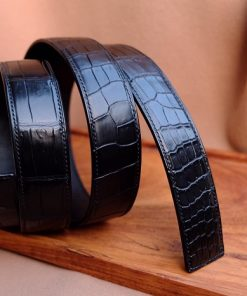 Thắt lưng cá sấu Thái Lan màu đen Handmade