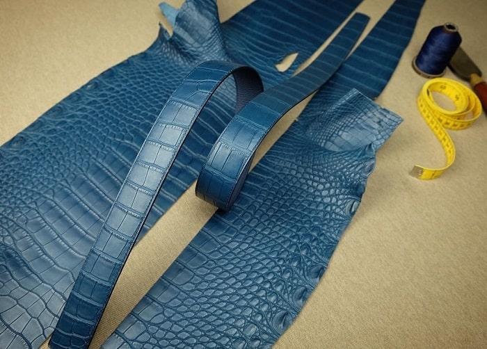 Thắt lưng da cá sấu Pháp màu xanh Navy