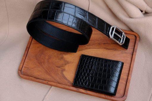 Thắt lưng da cá sấu Việt Nam màu đen