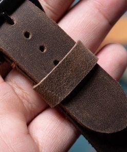 dây đồng hồ da bò sáp màu nâu nam tính