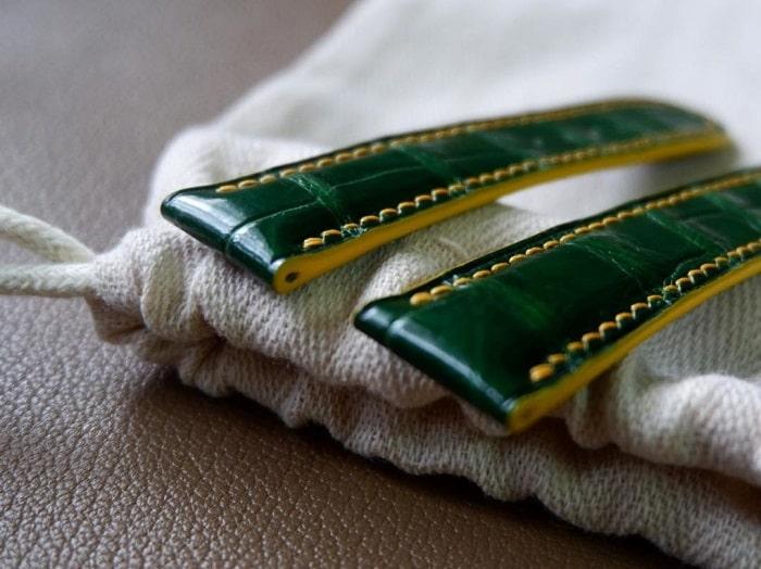 Dây đồng hồ da cá sấu xanh ngọc Handmade