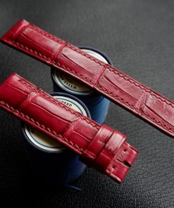 Dây đồng hồ da cá sấu Pháp màu đỏ tuyệt đẹp