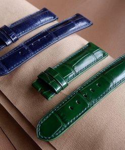 Dây đồng hồ da cá sấu Pháp màu xanh tuyệt đẹp