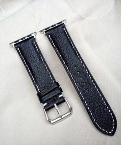 dây đồng hồ da dê Alran màu đen đẹp