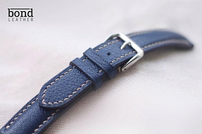 dây đồng hồ da dê Alran màu xanh navy cao cấp