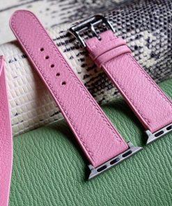 Dây đồng hồ da dê Alran màu hồng đẹp