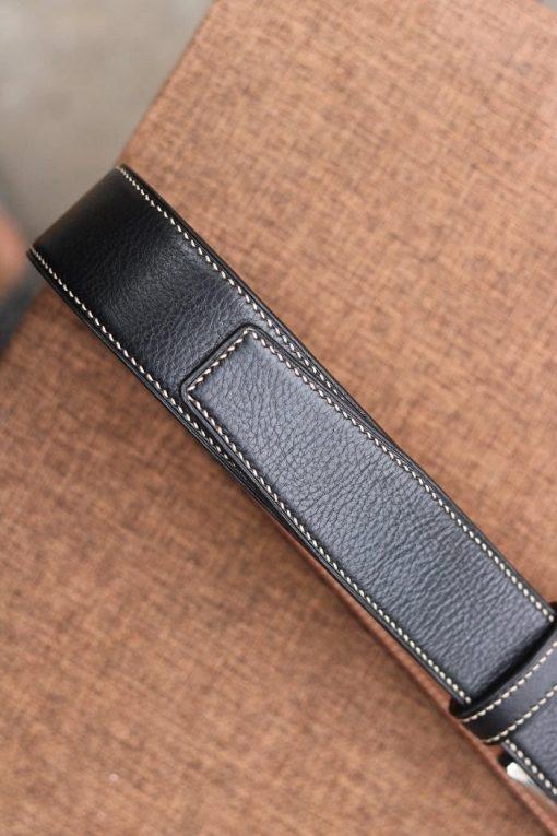 Thắt lưng da bò Vachetta màu đen