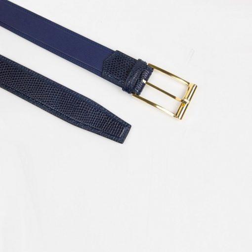 Thắt lưng kỳ đà Ring mix Epsom xanh Navy
